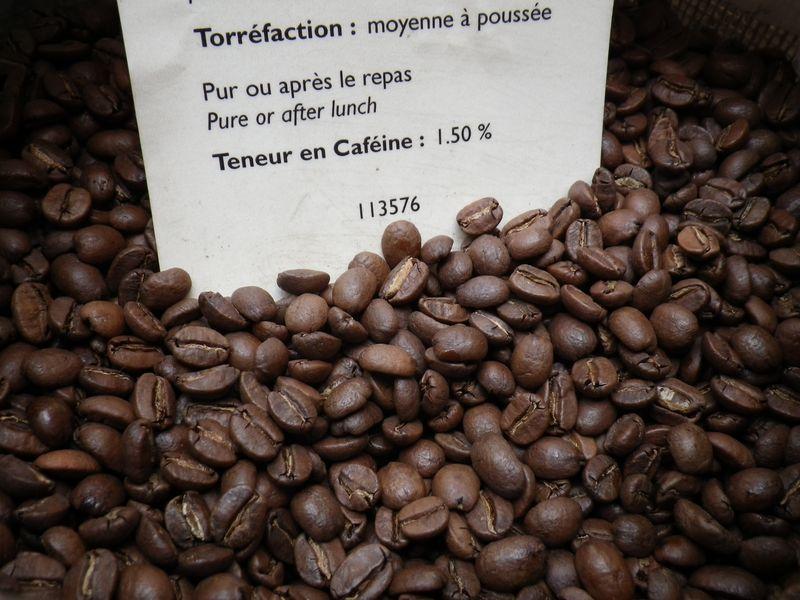 Grains café caféine